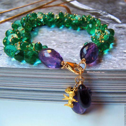 Браслеты ручной работы. Ярмарка Мастеров - ручная работа. Купить Зеленый Браслет из натуральных камней оникс аметист опал фиолетовый. Handmade.