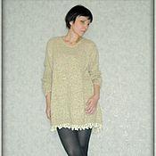 Одежда ручной работы. Ярмарка Мастеров - ручная работа Вязаный свитер-платье  с кружевом оверсайз. Handmade.