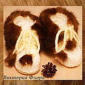 """Обувь ручной работы. Ярмарка Мастеров - ручная работа Вязаные меховые угги """"Норка"""". Handmade."""