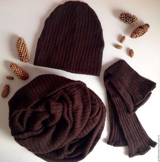 Шапки ручной работы. Ярмарка Мастеров - ручная работа. Купить Комплект:шапка, шарф-снуд,митенки. Handmade. Коричневый, трикотажная шапка