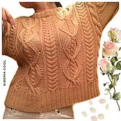 Одежда handmade. Livemaster - original item Womens sweater Diamond pattern, beige, 100% Merino wool. Handmade.