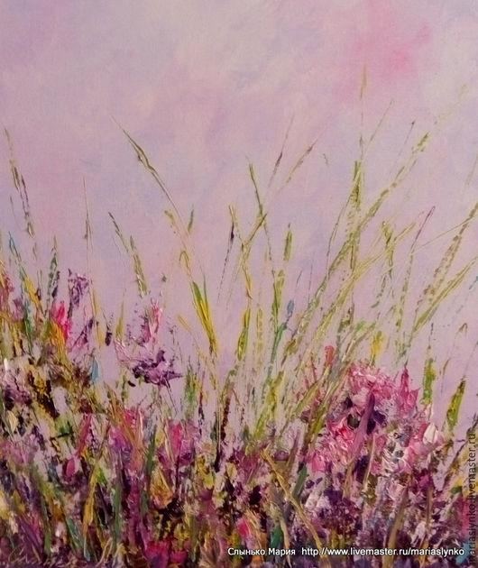 картина маслом. Полевые травы, сиреневое. Степь