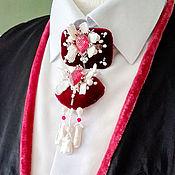 handmade. Livemaster - original item Pearl necklace pendant brooch Dyed pearl Carmine. Handmade.
