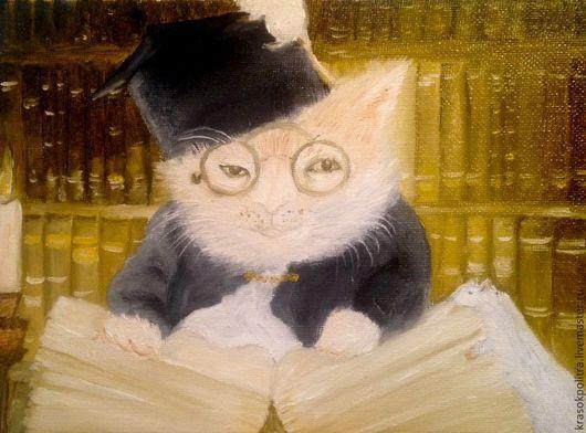 Животные ручной работы. Ярмарка Мастеров - ручная работа. Купить ученый кот. Handmade. Бежевый, белый, серый, черный, кот