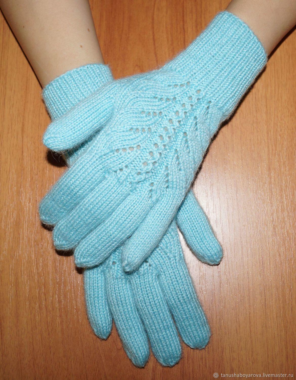 Мятные, ажурные перчатки. Женские вязаные перчатки – купить на Ярмарке Мастеров – HJXJJRU | Перчатки, Оренбург