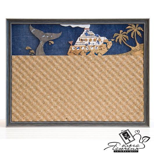 Пейзаж ручной работы. Ярмарка Мастеров - ручная работа. Купить Доска для записей «Тропический остров». Handmade. Коричневый, доска, кабинет