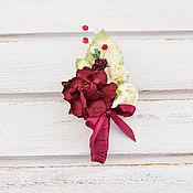 Свадебный салон handmade. Livemaster - original item Boutonniere for groom/witness Marsala. Handmade.