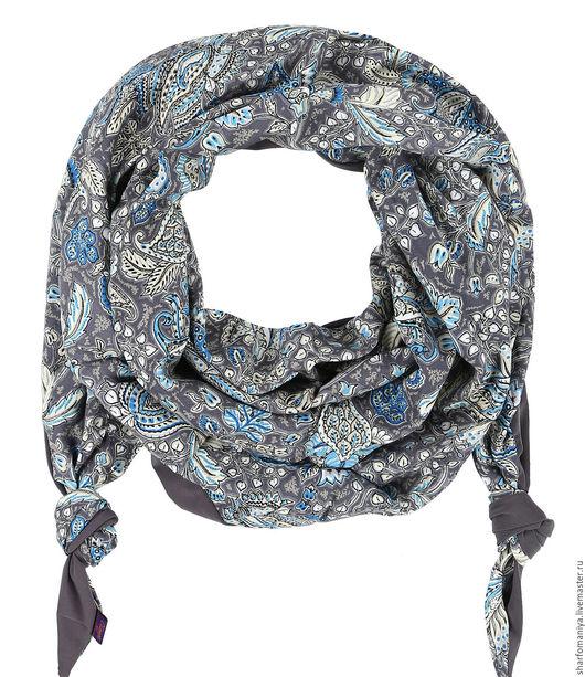 Двойной комбинированный шарф-долька с узелками `Хорошие Гены` - долька-хг-0316-118