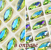 Материалы для творчества handmade. Livemaster - original item Glass rhinestone 15h7 mm Peridot AB silver and gold rims. Handmade.