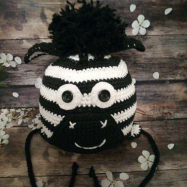"""Аксессуары ручной работы. Ярмарка Мастеров - ручная работа """"Зебра"""" шапочка для малыша. Handmade."""