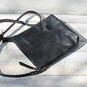 Сумки и аксессуары ручной работы. Ярмарка Мастеров - ручная работа Кожаная сумка черный планшет. Handmade.