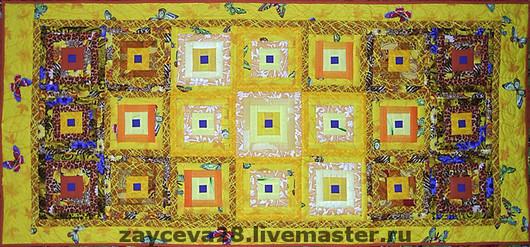 """Пледы и одеяла ручной работы. Ярмарка Мастеров - ручная работа. Купить коврик прикроватный """"Солнечные зайчики"""". Handmade. Лоскутное, желтый"""
