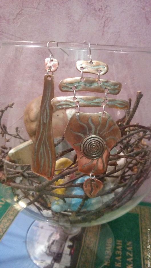 """Серьги ручной работы. Ярмарка Мастеров - ручная работа. Купить Серьги из бронзы """"Солярис. Восход"""". Handmade. Комбинированный, серебряный, сережки"""
