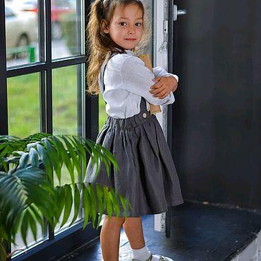 Одежда ручной работы. Ярмарка Мастеров - ручная работа Льняная юбка на лямках. Handmade.