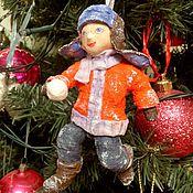 """Куклы и игрушки ручной работы. Ярмарка Мастеров - ручная работа Ватная елочная игрушка """" Мальчик со снежком""""(13 см). Handmade."""