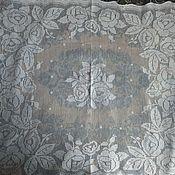 Винтажные предметы интерьера ручной работы. Ярмарка Мастеров - ручная работа Старинная скатерть для круглого столика. Handmade.