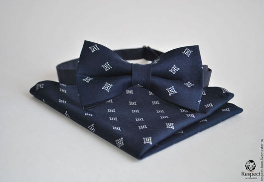 Галстуки, бабочки ручной работы. Ярмарка Мастеров - ручная работа. Купить Темно синяя галстук бабочка Лорд + темно синий нагрудный платок. Handmade.