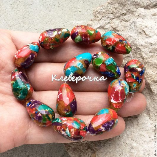 Для украшений ручной работы. Ярмарка Мастеров - ручная работа. Купить Мозаика 20 мм капли цветные бусины для украшений. Handmade.