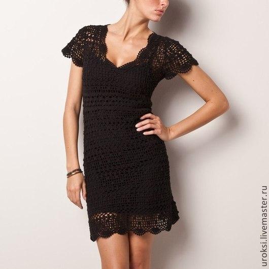 Платья ручной работы. Ярмарка Мастеров - ручная работа. Купить Маленькое черное платье крючком. Handmade. Разноцветный, Вязание крючком