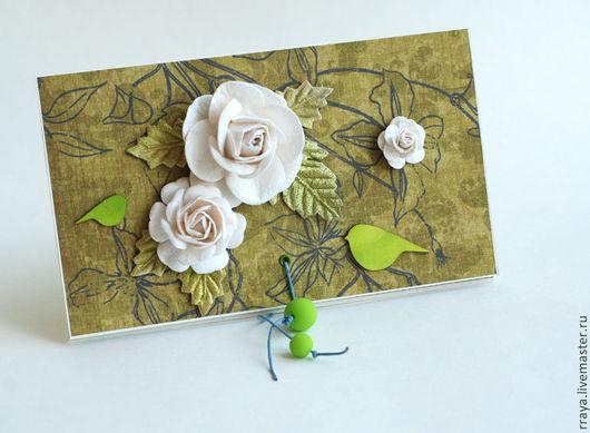 """Конверты для денег ручной работы. Ярмарка Мастеров - ручная работа. Купить Конверт подарочный """"Белые розы и зеленые птички"""". Handmade."""