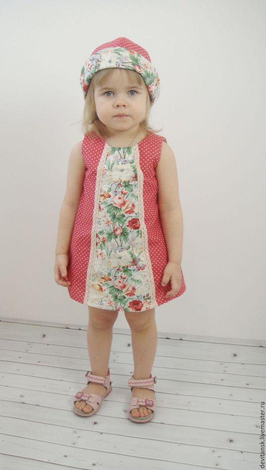 Одежда для девочек, ручной работы. Ярмарка Мастеров - ручная работа. Купить Детское платье, трусики и панама для девочки. Handmade. Коралловый