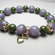 Украшения handmade. Livemaster - original item Bracelet with Baikal jade and lepidolite