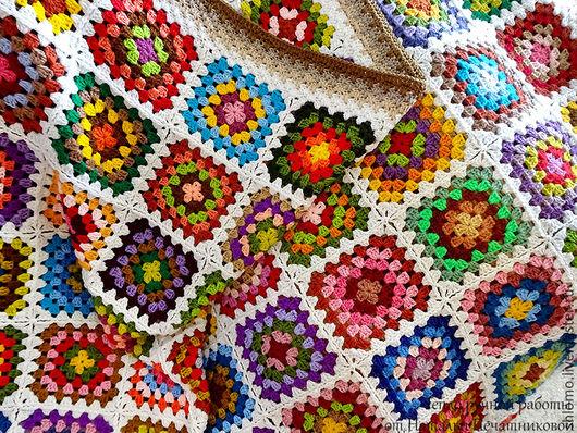"""Текстиль, ковры ручной работы. Ярмарка Мастеров - ручная работа. Купить Вязаный плед """"Удовольствие в квадрате"""". Handmade. Плед вязаный"""