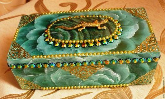 """Шкатулки ручной работы. Ярмарка Мастеров - ручная работа. Купить """"Малахитовая"""" шкатулка. Handmade. Зеленый, зеленый с золотом, подарок женщине"""