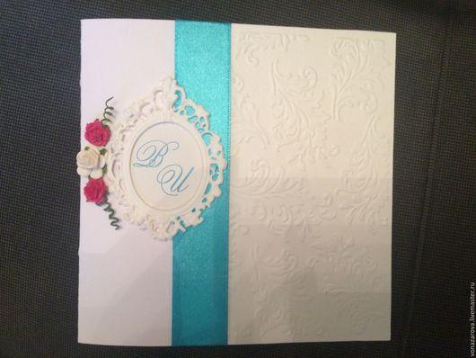 Свадебные открытки ручной работы. Ярмарка Мастеров - ручная работа. Купить Приглашение свадебное. Handmade. Бирюзовый, свадьба, открытка, картон