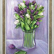 Картины и панно ручной работы. Ярмарка Мастеров - ручная работа Тюльпаны. Вышивка лентами. Handmade.