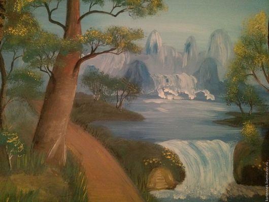 """Пейзаж ручной работы. Ярмарка Мастеров - ручная работа. Купить Картина: """"Водопад в горах"""". Handmade. Разноцветный, картина для интерьера, водопад"""