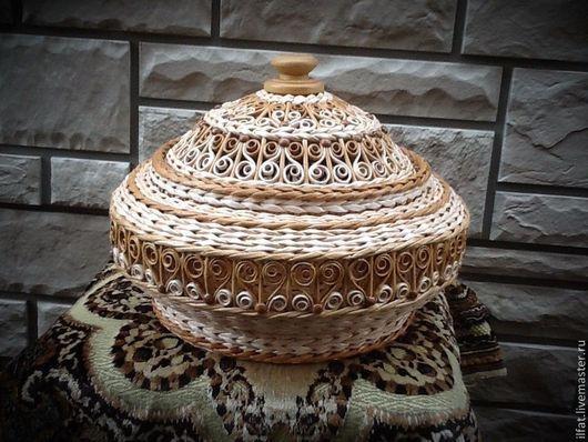 Корзины, коробы ручной работы. Ярмарка Мастеров - ручная работа. Купить Шкатулка (шапка Маномаха). Handmade. Бежевый, плетеные корзинки