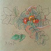 Картины ручной работы. Ярмарка Мастеров - ручная работа Шиповник картина натюрморт цветными карандашами и тушь Шиповник в чаше. Handmade.