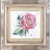 Картины и панно ручной работы. Ярмарка Мастеров - ручная работа Картина акварелью. Роза бело- розовая.. Handmade.