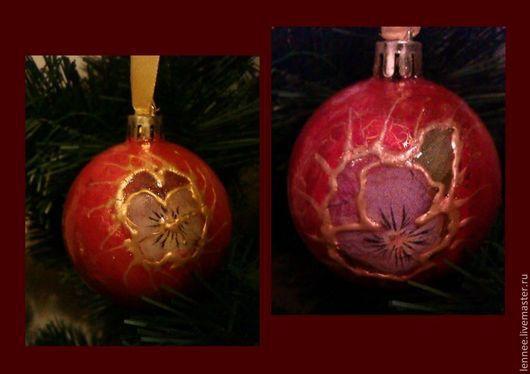 Новый год 2017 ручной работы. Ярмарка Мастеров - ручная работа. Купить Виолы. Handmade. Бордовый, елочный шар, Декупаж, цветы