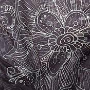 """Аксессуары ручной работы. Ярмарка Мастеров - ручная работа шелковый батик платок """"Серый мехенди"""". Handmade."""