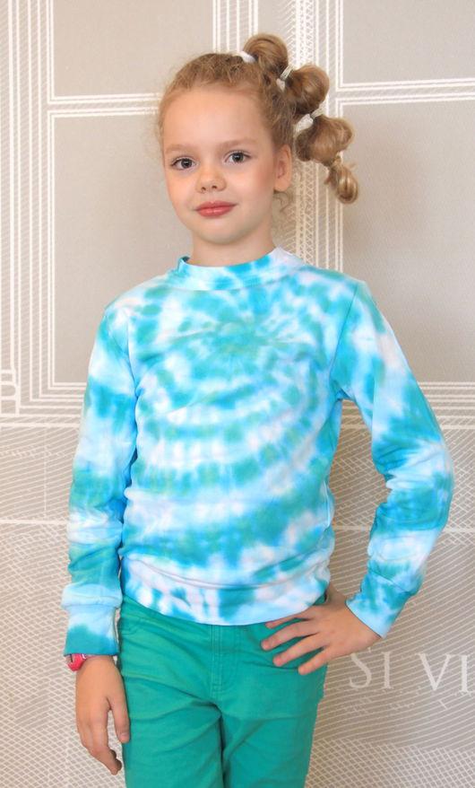 """Одежда унисекс ручной работы. Ярмарка Мастеров - ручная работа. Купить Детский свитшот """"Лагуна"""". Handmade. Бирюзовый, свитшот для девочки"""