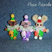 Куклы и игрушки handmade. Livemaster - original item Toys on the Christmas tree. Bear knitted. Hare. Pig. Handmade.