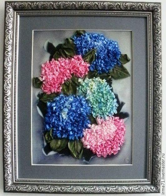 Картины цветов ручной работы. Ярмарка Мастеров - ручная работа. Купить Гортензии. Handmade. Картина в подарок, ручная вышивка, гортензия