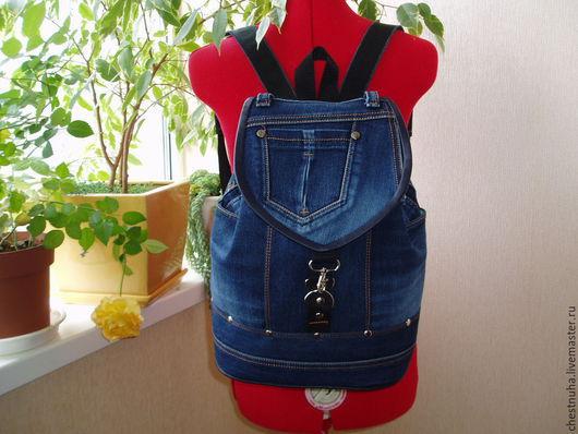 """Рюкзаки ручной работы. Ярмарка Мастеров - ручная работа. Купить Рюкзак джинсовый """"Denim"""". Handmade. Тёмно-синий, удобный рюкзак"""