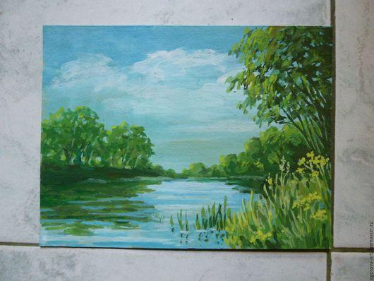 Пейзаж ручной работы. Ярмарка Мастеров - ручная работа. Купить Река Осетр.. Handmade. Зеленый, пейзаж с водой, лето