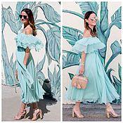 Одежда ручной работы. Ярмарка Мастеров - ручная работа Летнее платье с воланами Mint. Handmade.