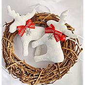Подарки к праздникам ручной работы. Ярмарка Мастеров - ручная работа Лосики новогодние игрушки на елку новый год 2018 елочные украшения. Handmade.