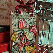 """Открытки ручной работы. Ярмарка Мастеров - ручная работа Открытка-бирка серия """"Дети-цветы"""" тюльпан. Handmade."""