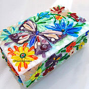 Для дома и интерьера handmade. Livemaster - original item Glass box Summer flowers butterfly. Fusing, glass. Handmade.