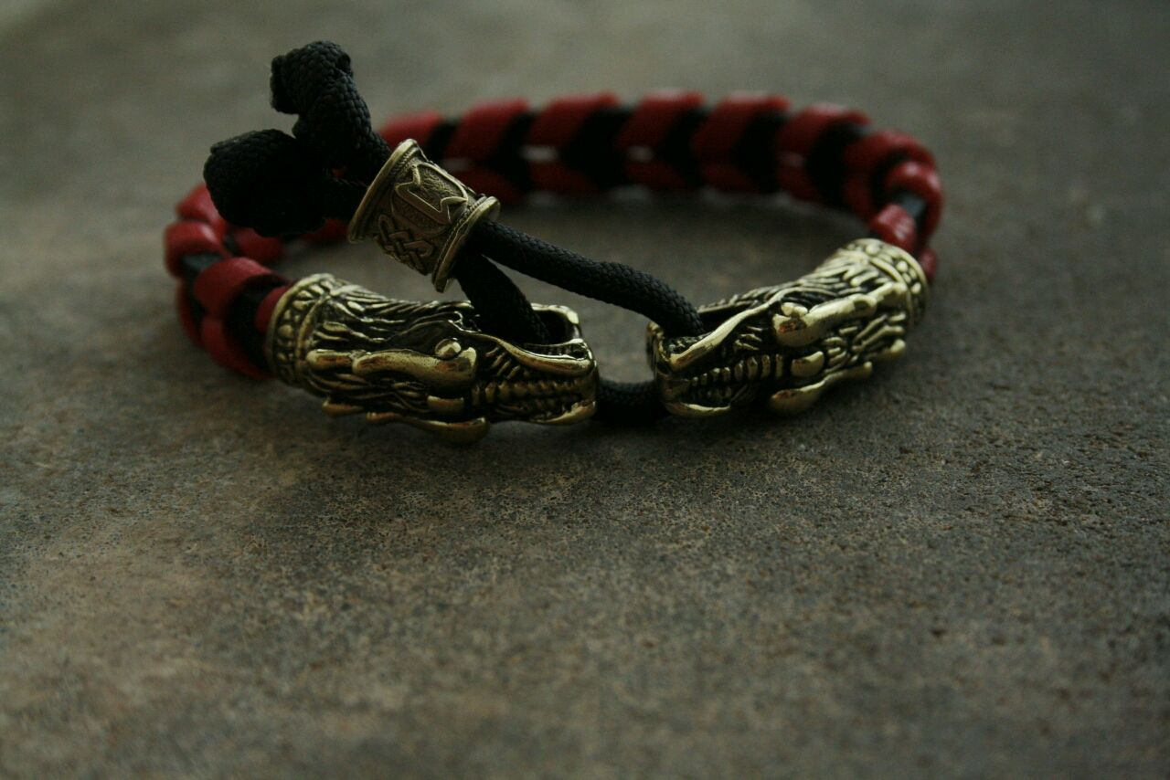Bracelet made of genuine leather dragon, Bead bracelet, Volgograd,  Фото №1
