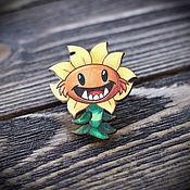 Badge handmade. Livemaster - original item Wooden icon is a Sunflower. Handmade.