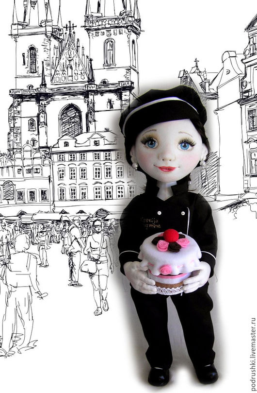 Коллекционные куклы ручной работы. Ярмарка Мастеров - ручная работа. Купить Кукла - кондитер. Handmade. Черный, кукла текстильная