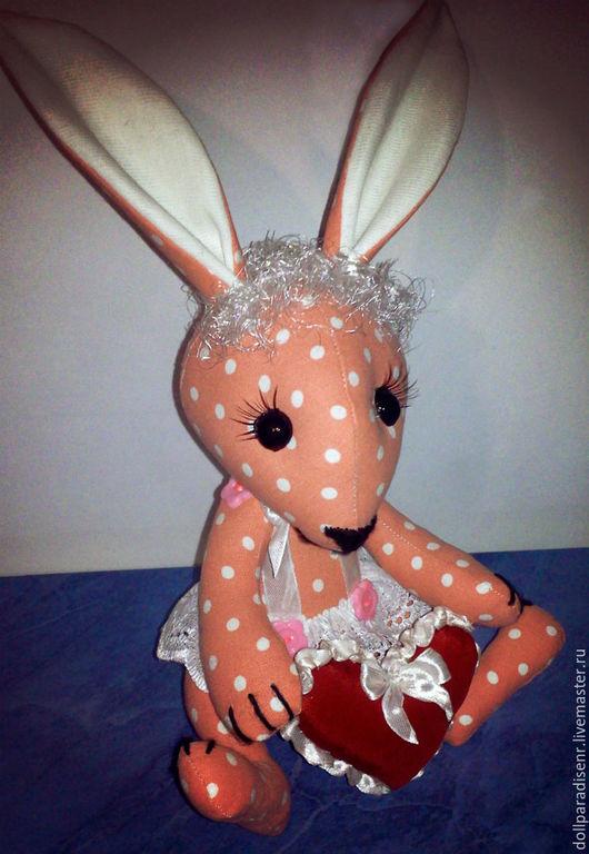 Куклы Тильды ручной работы. Ярмарка Мастеров - ручная работа. Купить Зайка. Handmade. Розовый, игрушка заяц, уши