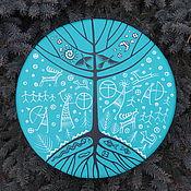 Музыкальные инструменты handmade. Livemaster - original item Three of the world. Tambourine Vedic turquoise. 45 cm.. Handmade.